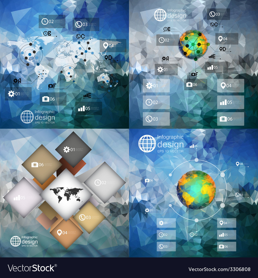 Infographic templates set for business design vector | Price: 1 Credit (USD $1)