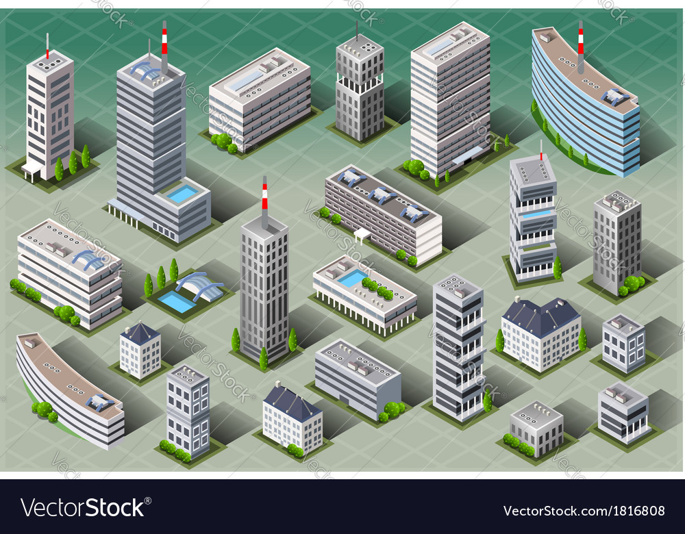 Isometric european buildings vector | Price: 1 Credit (USD $1)