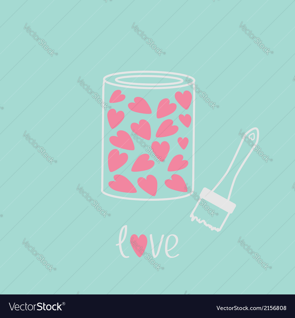 Love paint with hearts inside card pink and blue vector | Price: 1 Credit (USD $1)