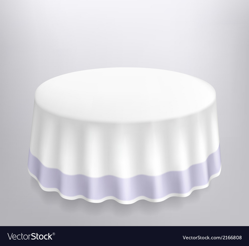 Round table with a white cloth vector | Price: 1 Credit (USD $1)