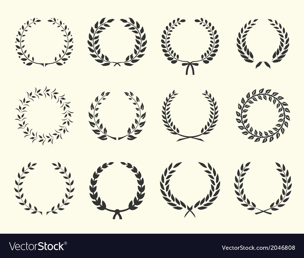 Silhouettes of wreaths vector