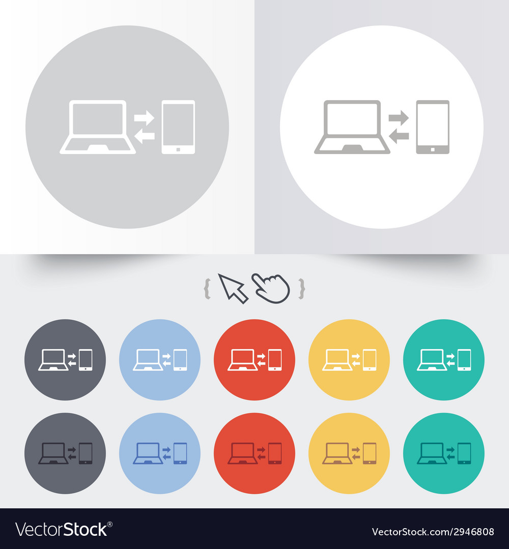 Synchronization icon notebook with smartphone vector | Price: 1 Credit (USD $1)