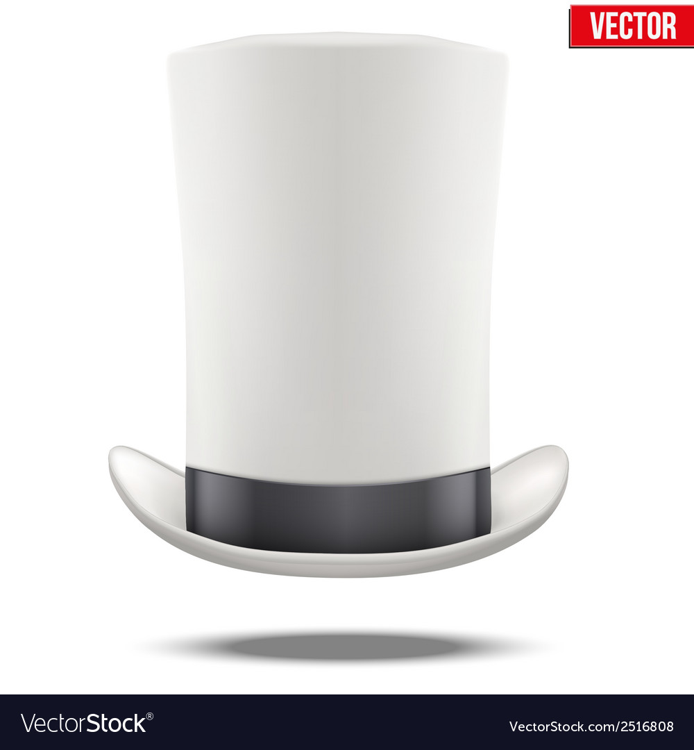 Tall white gentleman hat cylinder with black vector | Price: 1 Credit (USD $1)