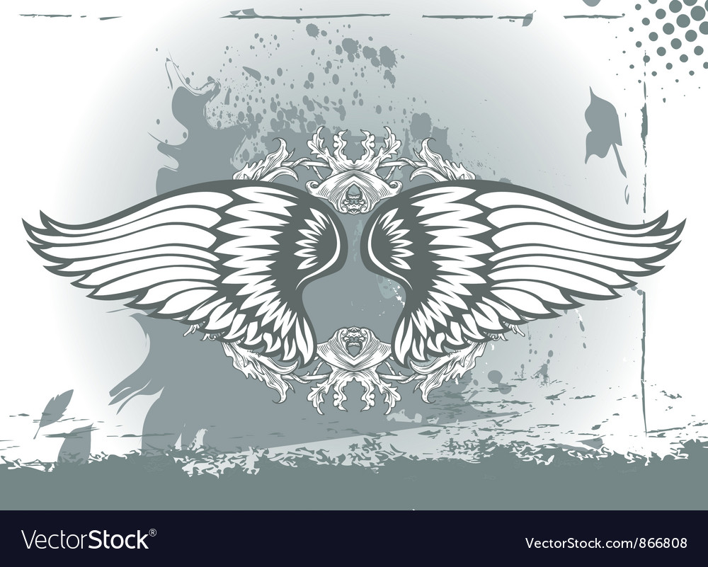 Wings with floral vector | Price: 1 Credit (USD $1)
