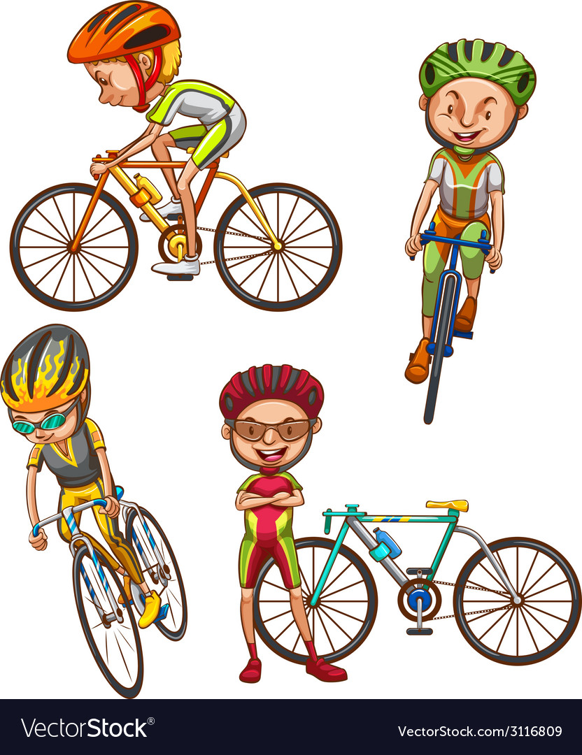 A coloured sketch of the cyclists vector | Price: 1 Credit (USD $1)