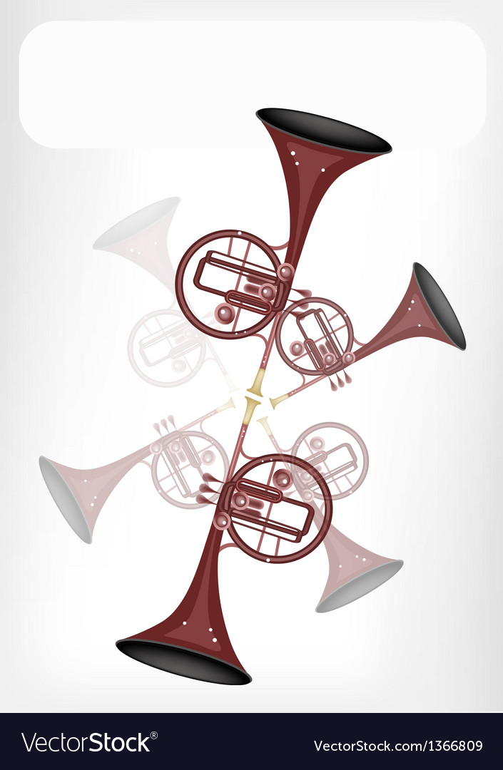 A musical straight mellophone with a white banner vector | Price: 1 Credit (USD $1)