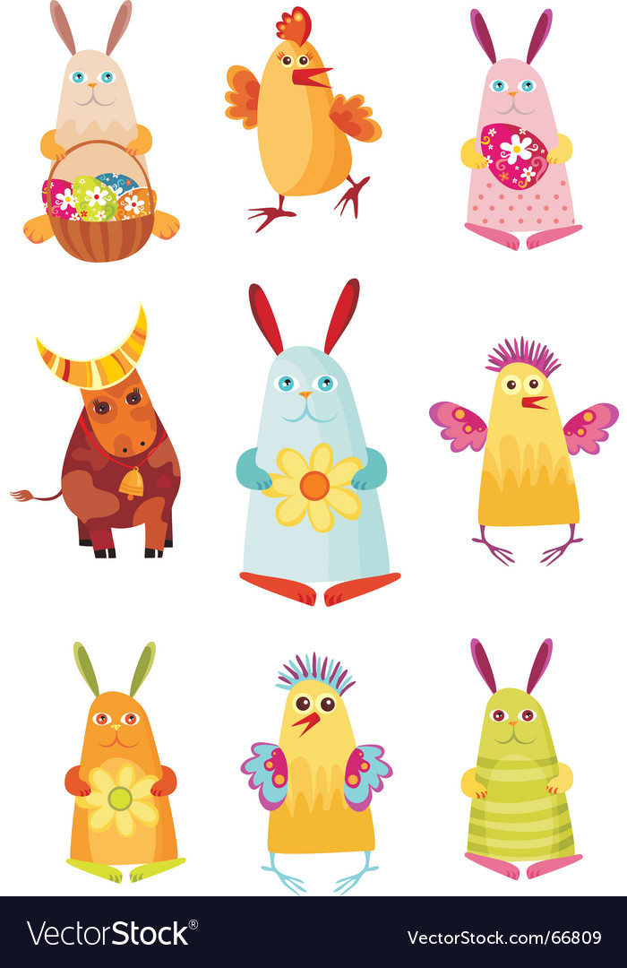 Easter characters vector | Price: 3 Credit (USD $3)