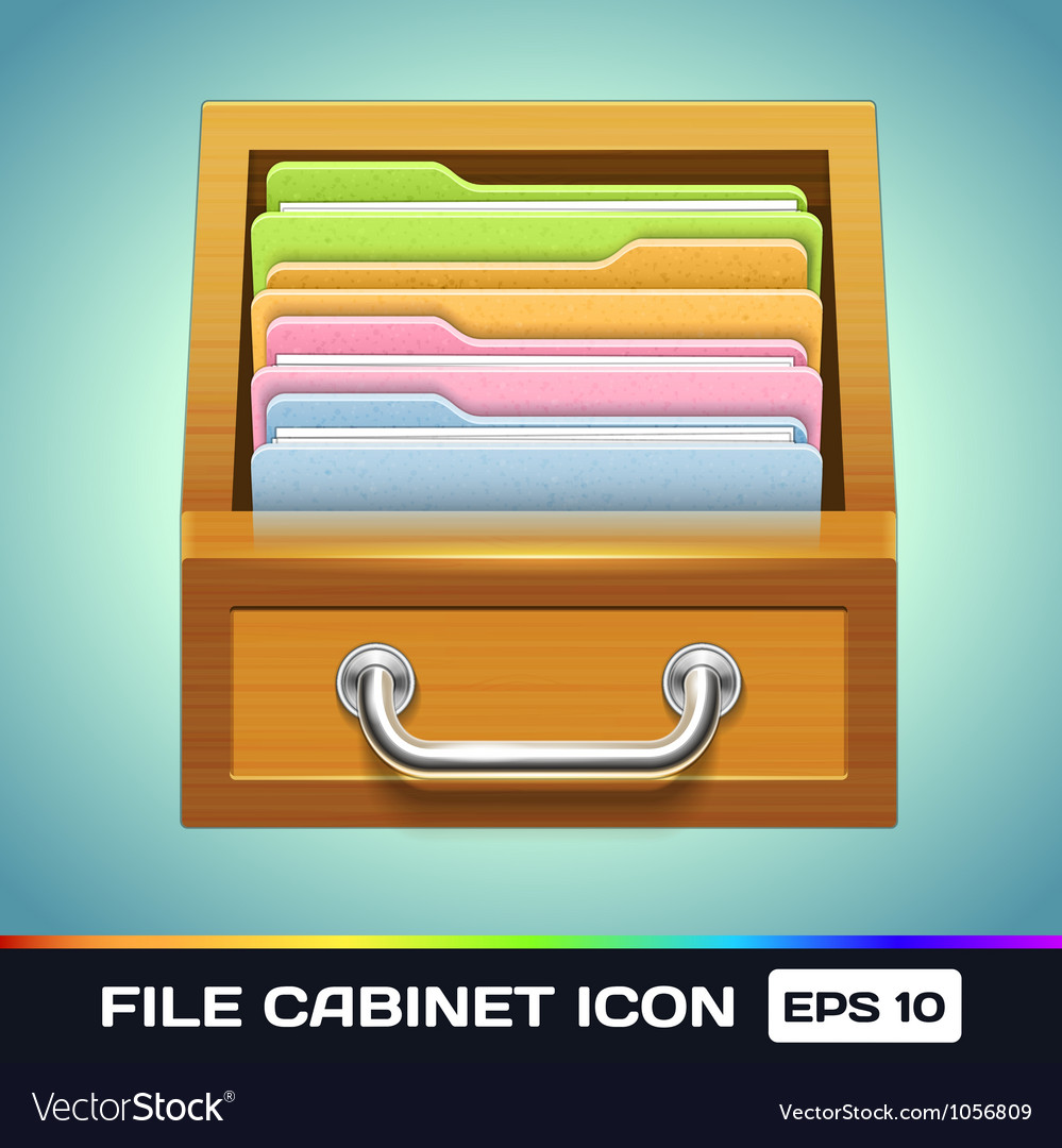 File cabinet with folders icon vector | Price: 1 Credit (USD $1)