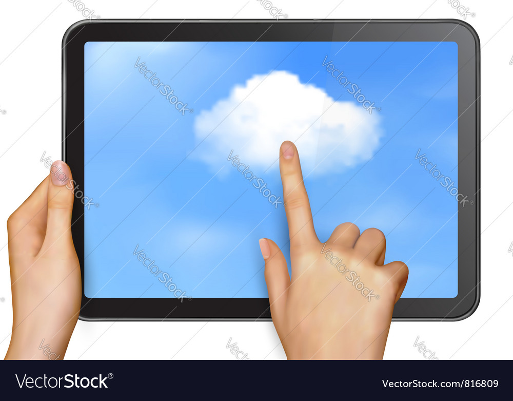 Finger touching cloud on a touch screen vector   Price: 3 Credit (USD $3)