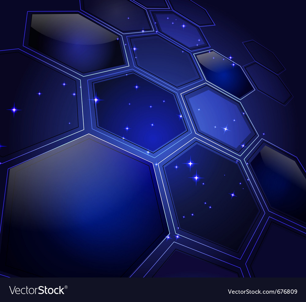 Glowing honeycombs and stars vector | Price: 1 Credit (USD $1)