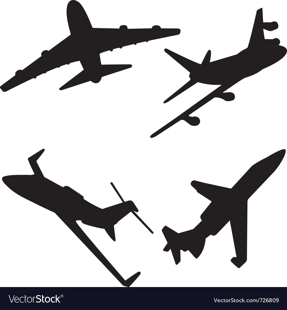 Jet aircraft silhouettes vector | Price: 1 Credit (USD $1)