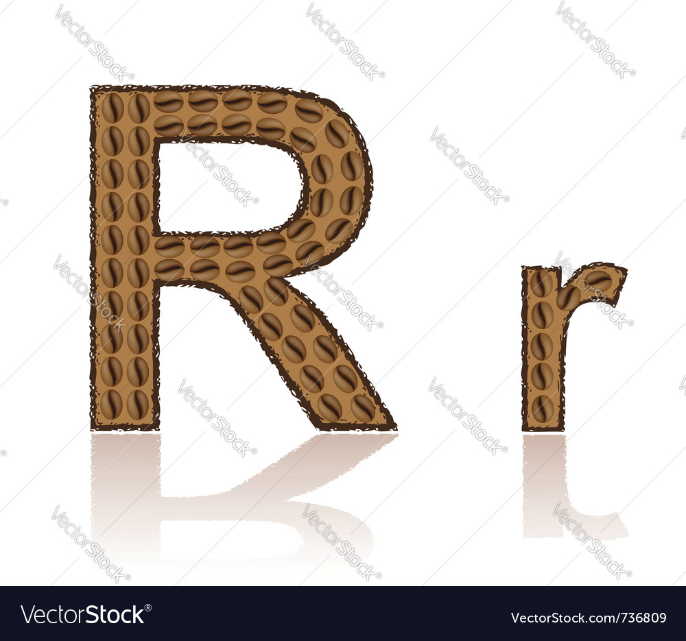 Letter r is made grains of coffee isolated on whit vector | Price: 1 Credit (USD $1)