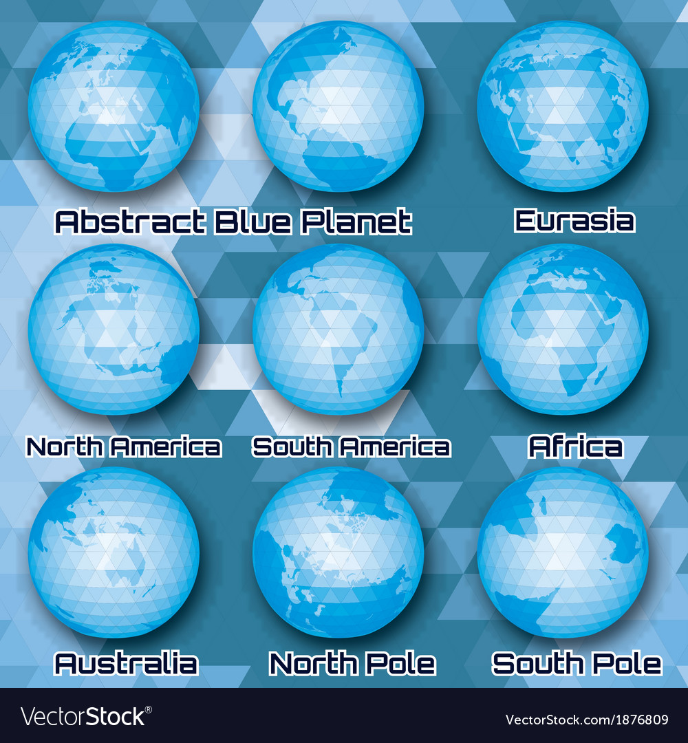 Set of polygonal abstract globes vector | Price: 1 Credit (USD $1)