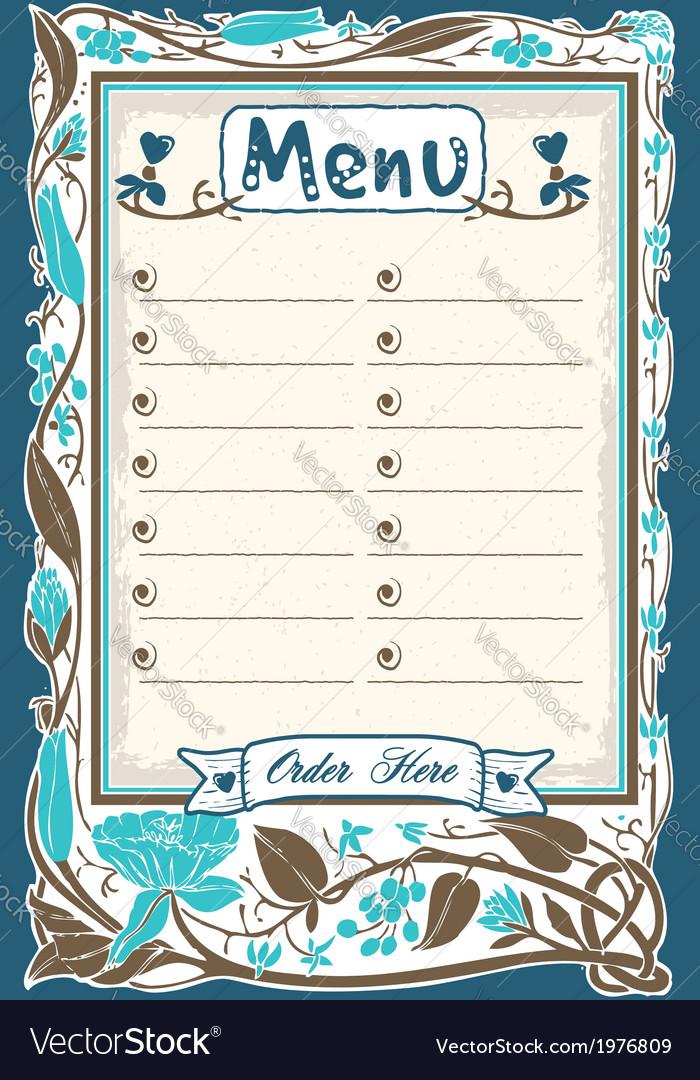 Vintage candid menu in blue vector | Price: 1 Credit (USD $1)