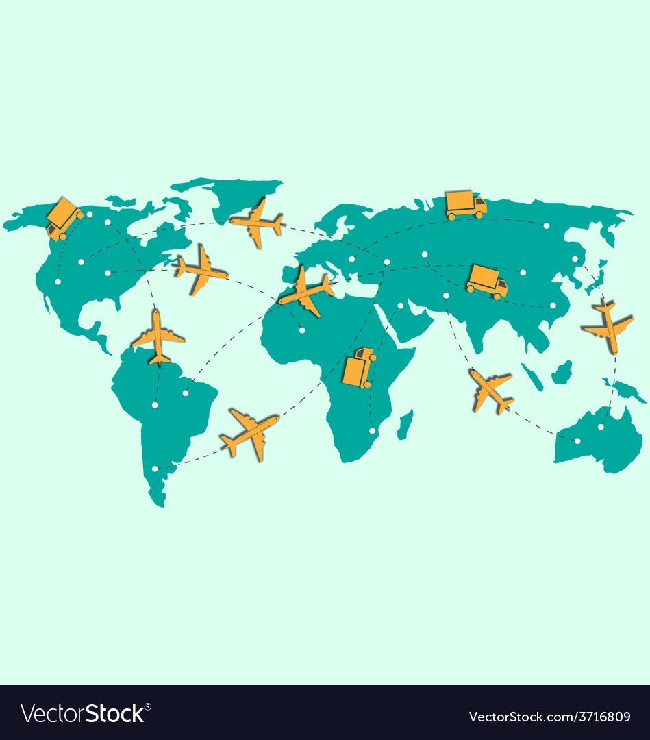 World map with air planes and trucks isolated on vector | Price: 1 Credit (USD $1)