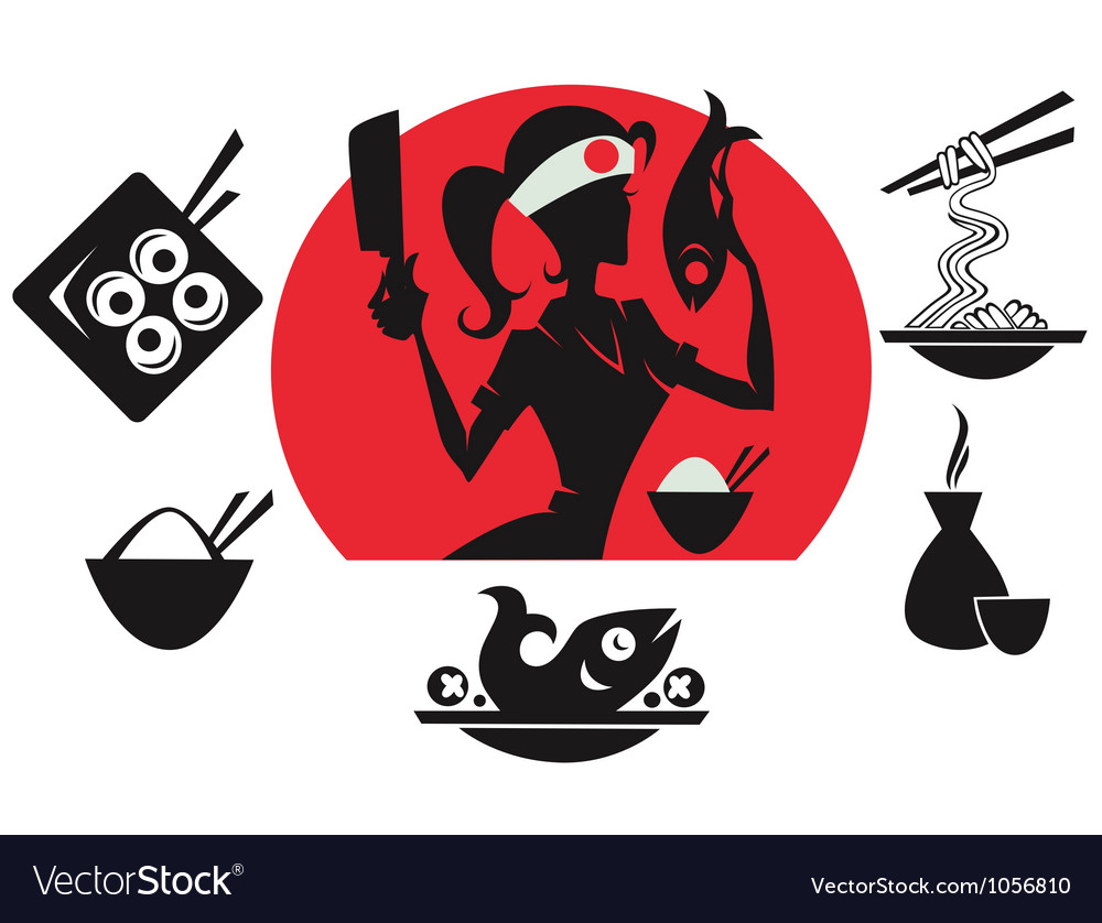 Beautiful sushi chief asian food silhouettes vector | Price: 1 Credit (USD $1)