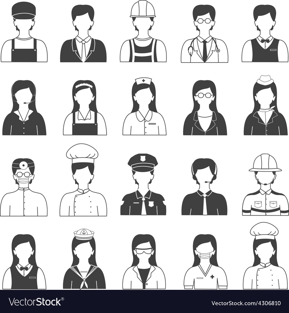 Career people and occupation icons set vector | Price: 1 Credit (USD $1)