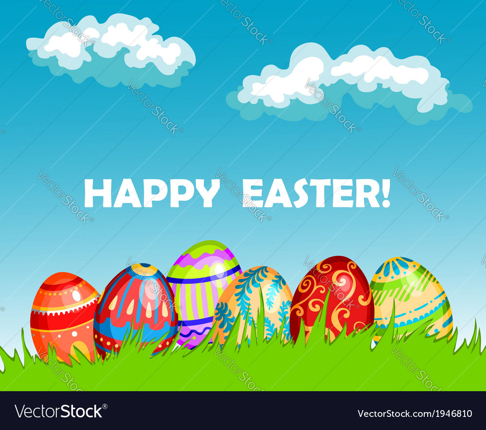 Colourful happy easter greeting card design vector | Price: 1 Credit (USD $1)