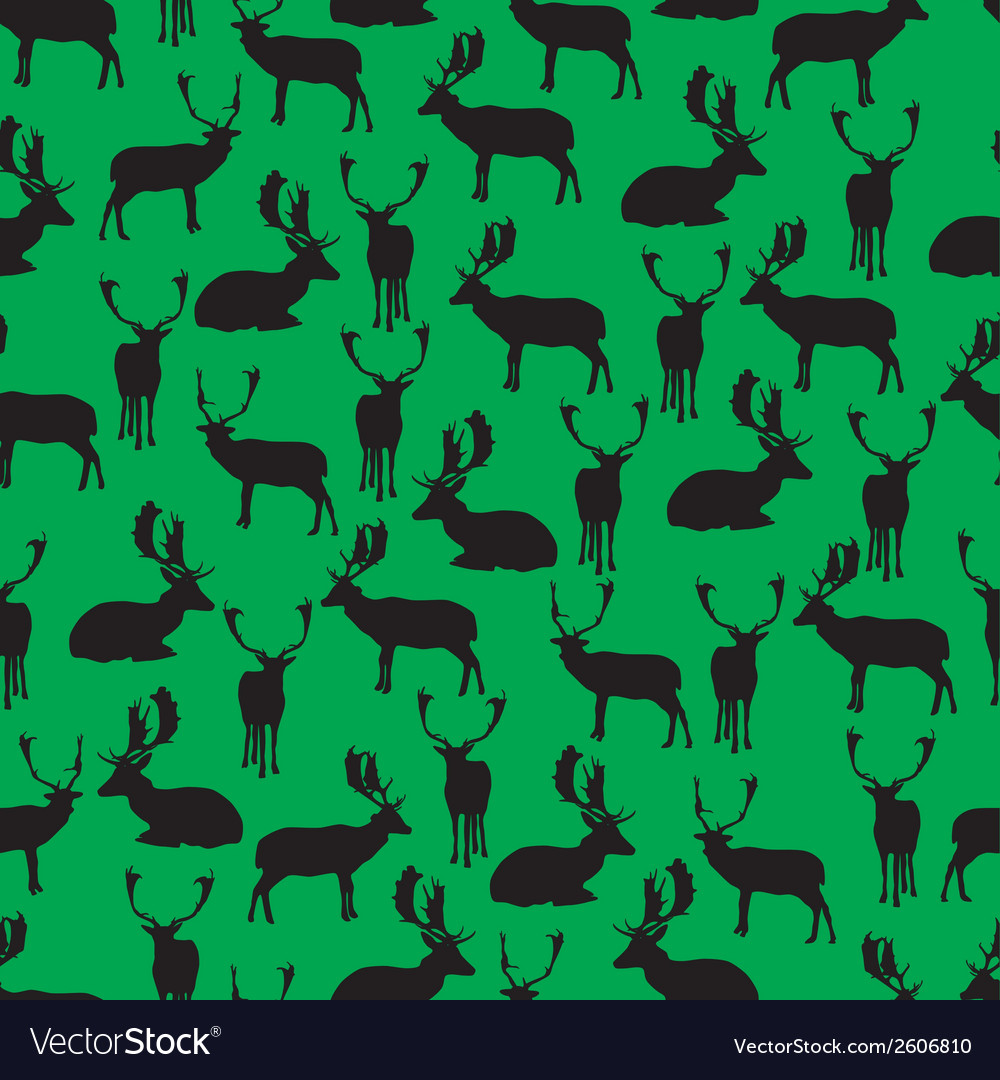 Fallow deer silhouette pattern eps10 vector | Price: 1 Credit (USD $1)