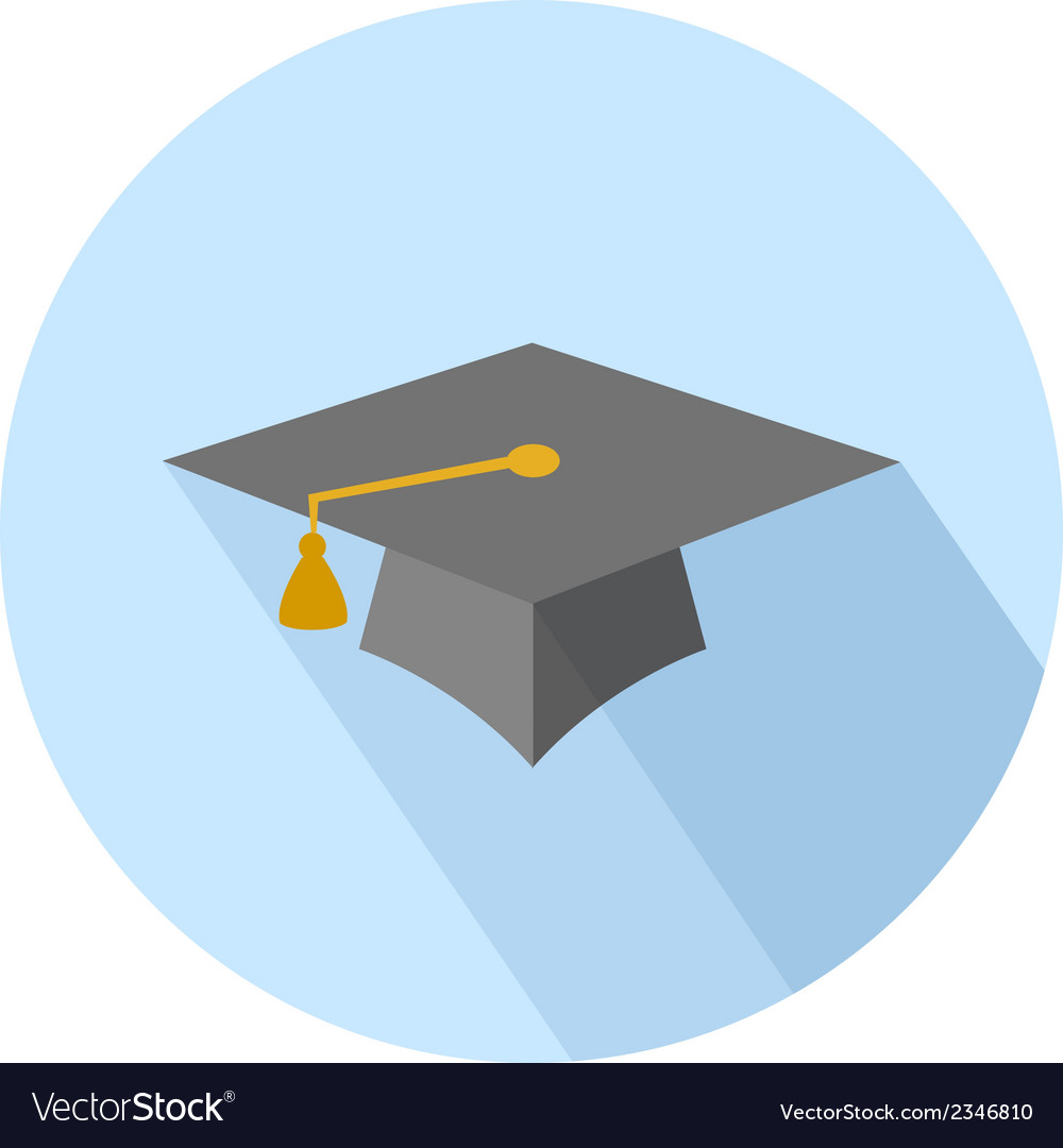 Flat long shadow graduation hat vector | Price: 1 Credit (USD $1)