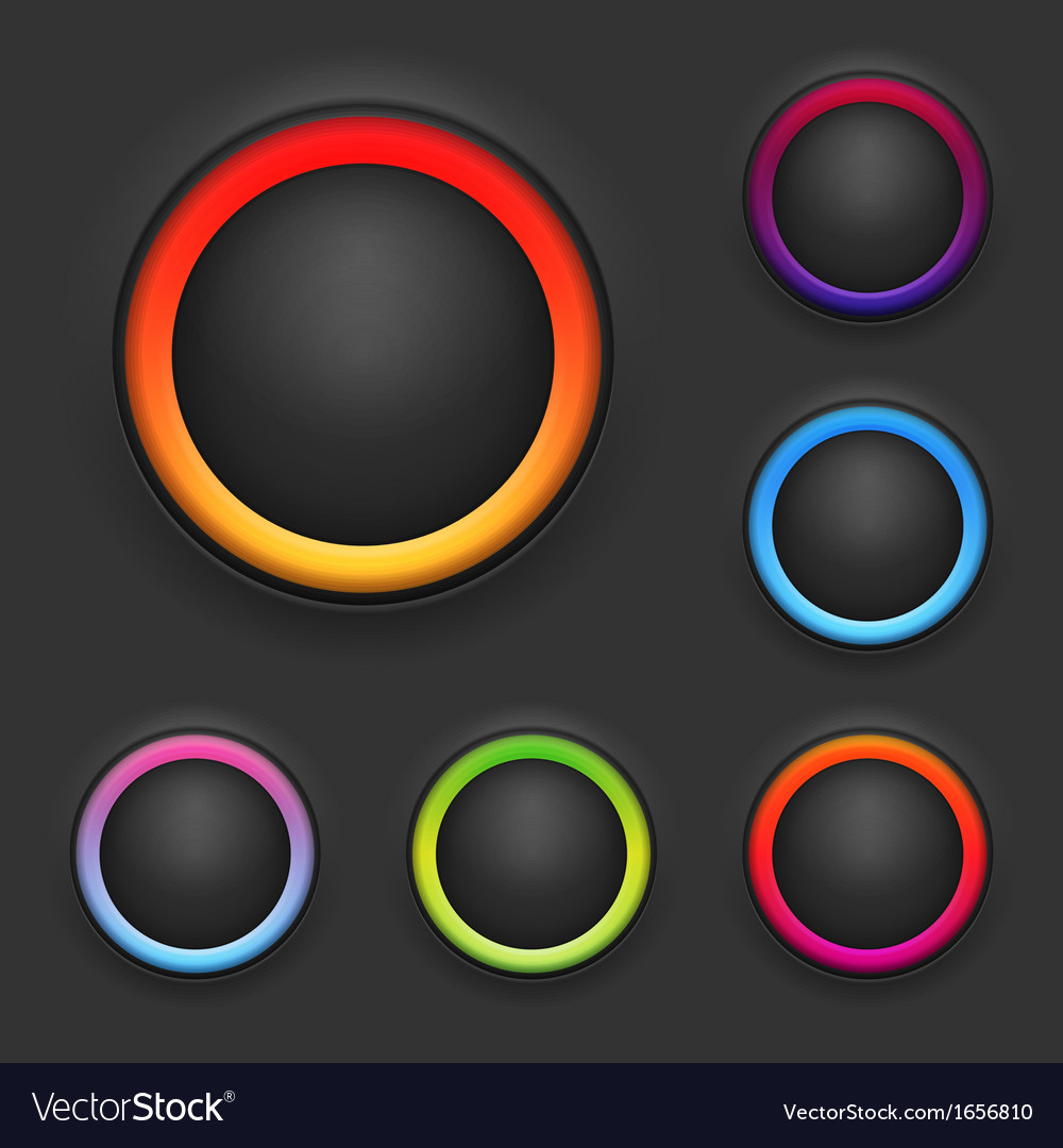Glowing button template set vector | Price: 1 Credit (USD $1)