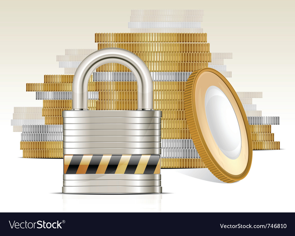Gold coins and lock vector | Price: 1 Credit (USD $1)