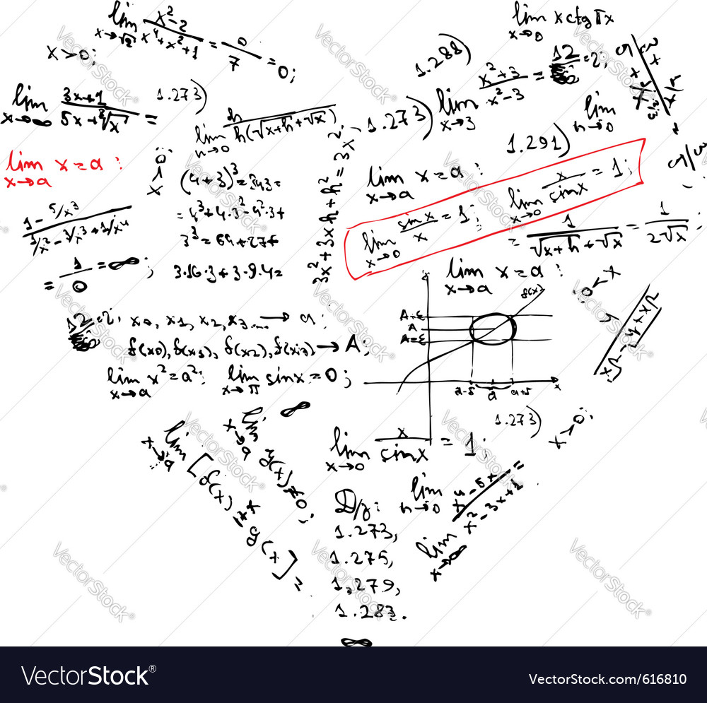 Heart shape with math formulas vector   Price: 1 Credit (USD $1)