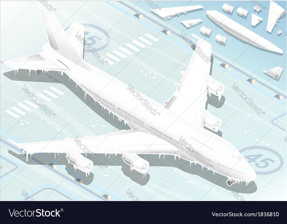 Isometric frozen airplane in front view vector | Price: 1 Credit (USD $1)