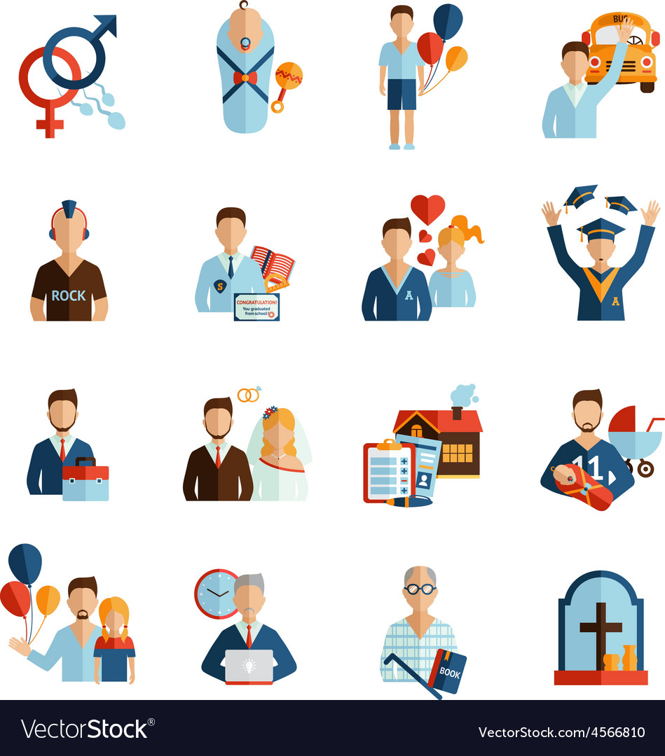Life stages icons set vector | Price: 1 Credit (USD $1)