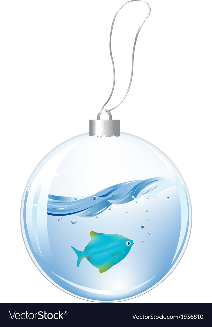 New year ball with blue fish in water vector   Price: 1 Credit (USD $1)