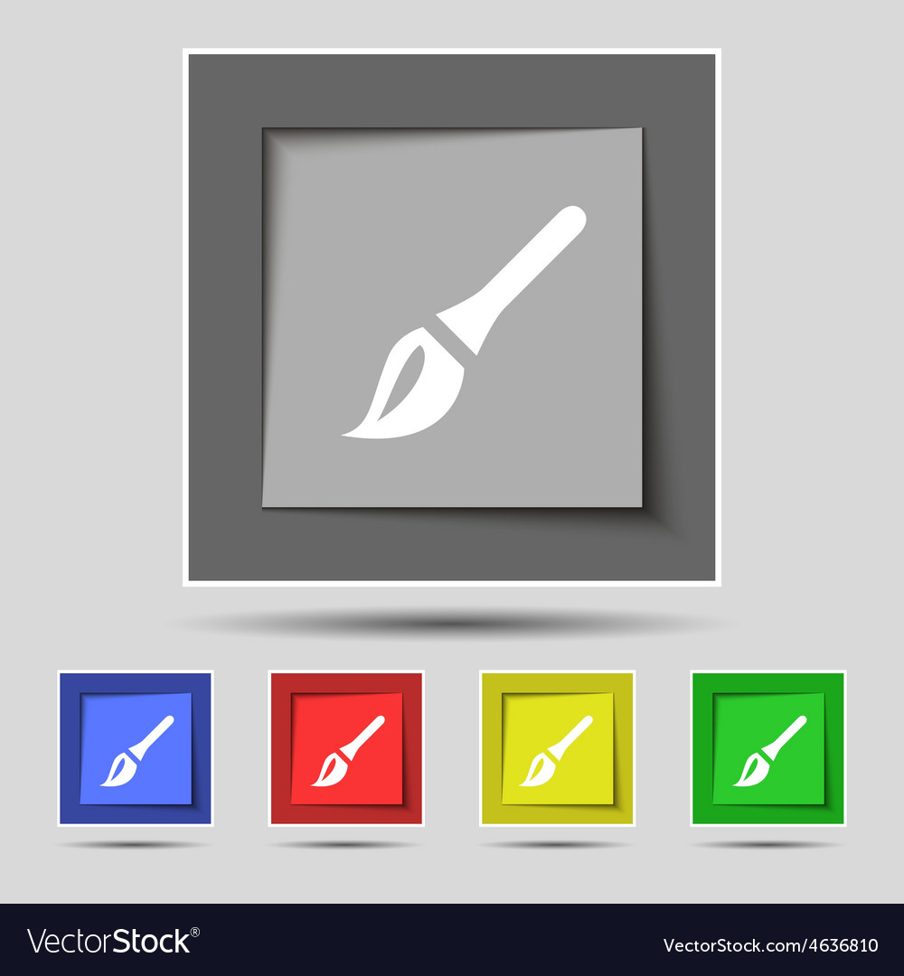Paint brush artist icon sign on the original five vector | Price: 1 Credit (USD $1)