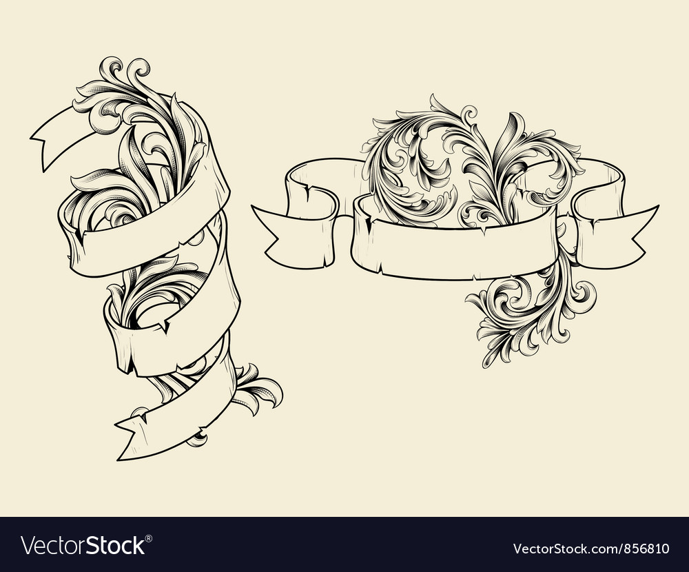 Ribbons with floral vector | Price: 1 Credit (USD $1)