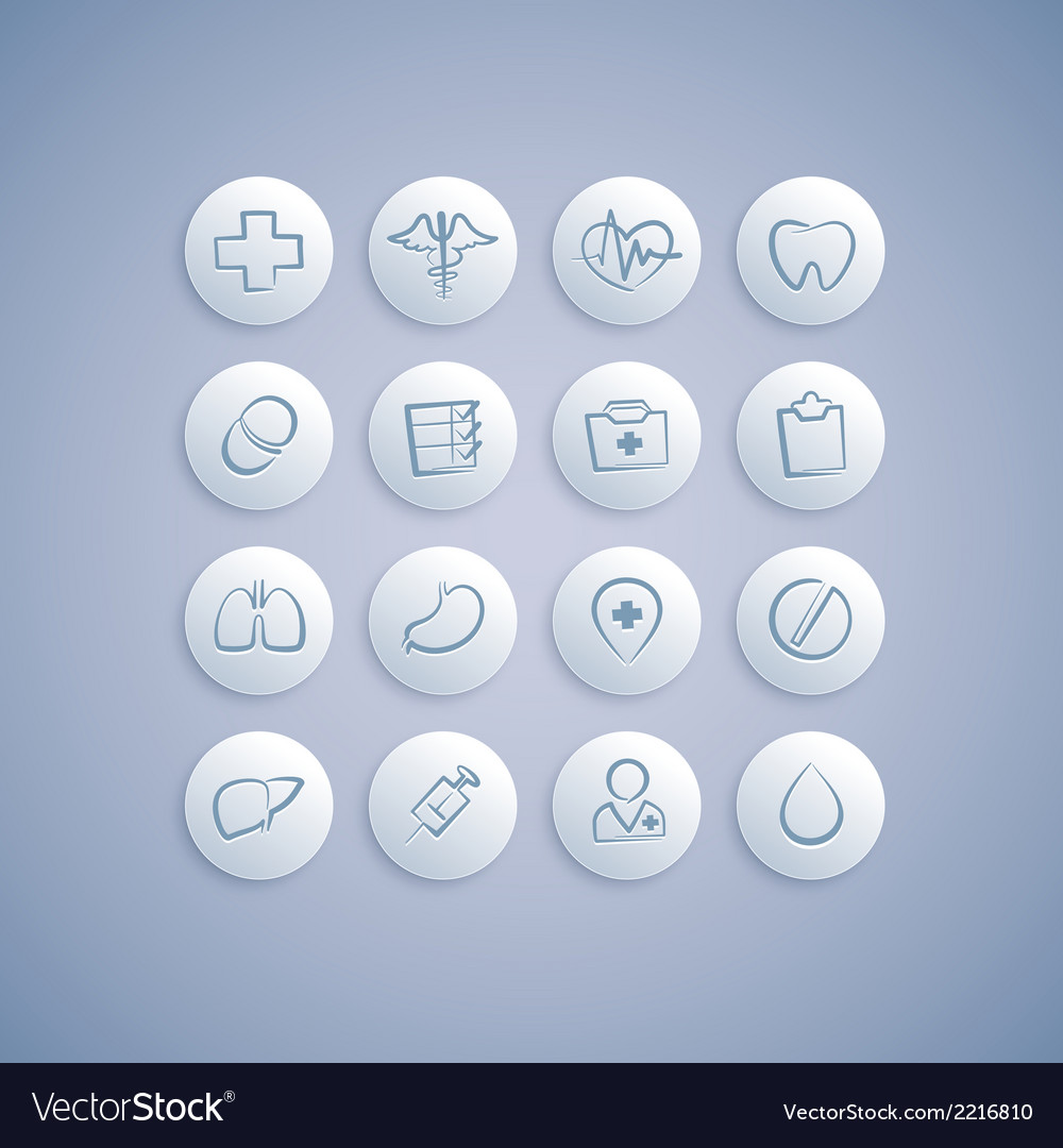 Set of medical icons on pills vector | Price: 1 Credit (USD $1)
