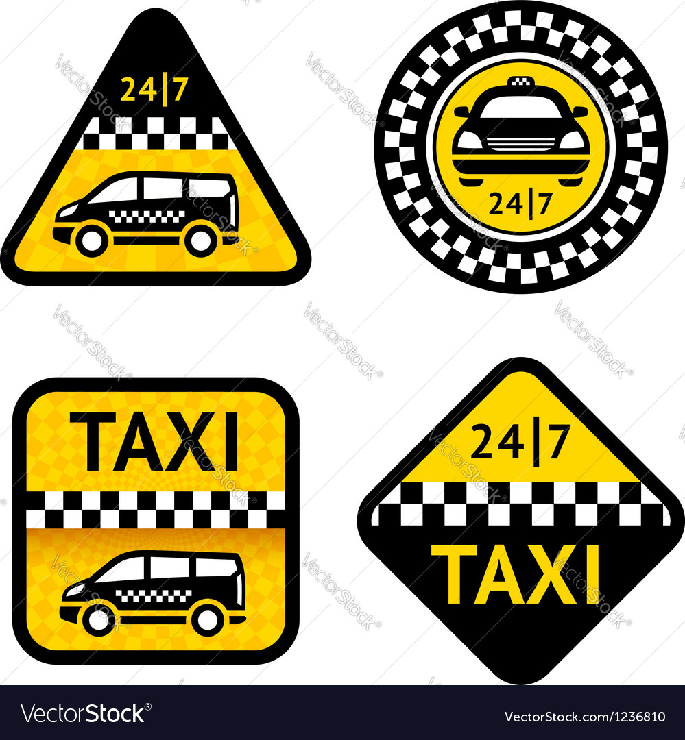 Taxi - set four labels vector | Price: 1 Credit (USD $1)