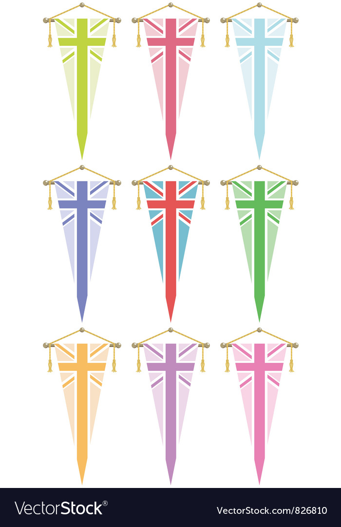 Uk flag pennants vector
