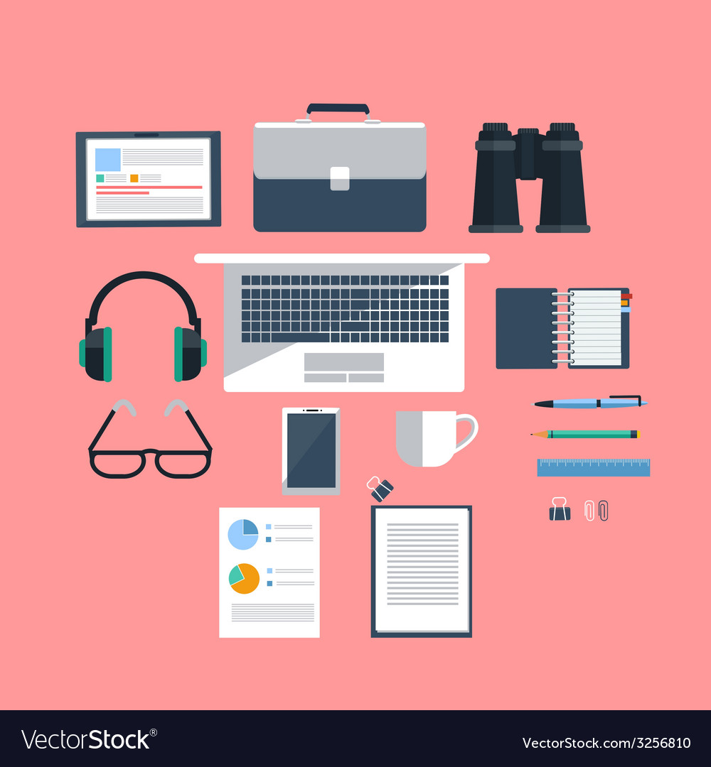 Workplace with laptop on pink background vector | Price: 1 Credit (USD $1)