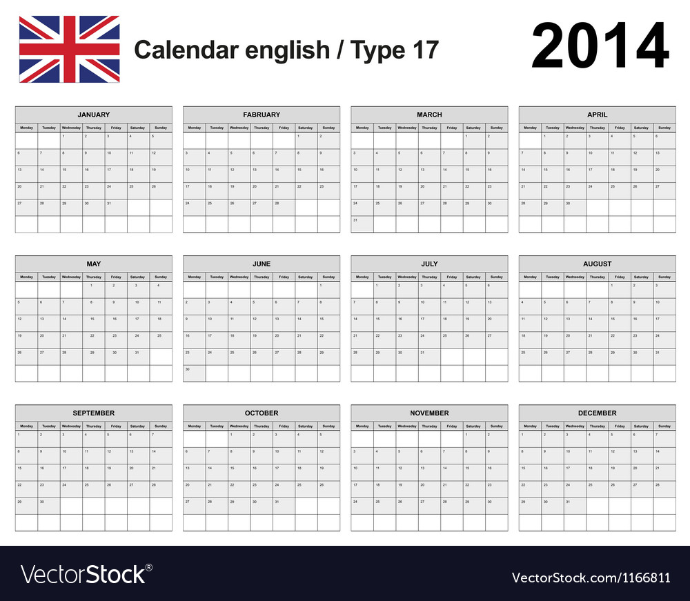 Calendar 2014 english type 17 vector | Price: 1 Credit (USD $1)