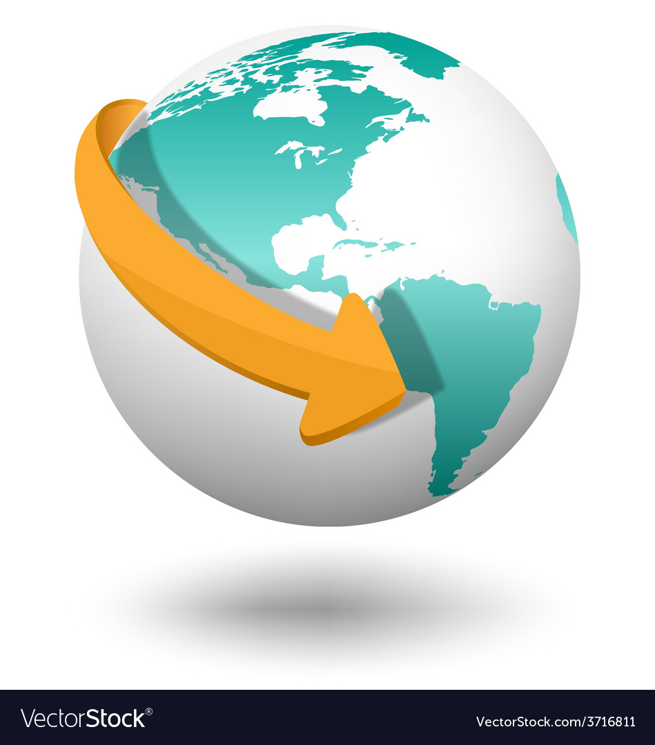 Emblem with white globe and orange arrow isolated vector | Price: 1 Credit (USD $1)
