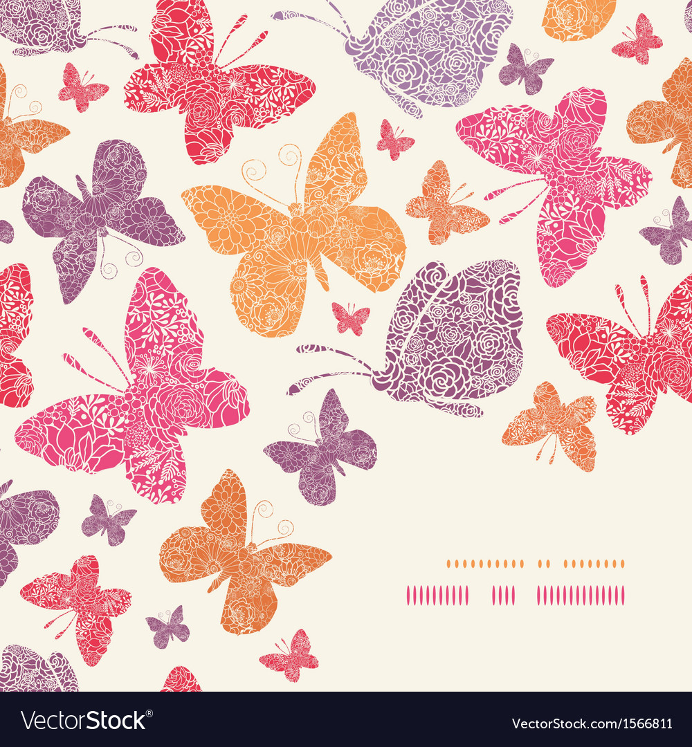 Floral butterflies corner decor pattern background vector | Price: 1 Credit (USD $1)