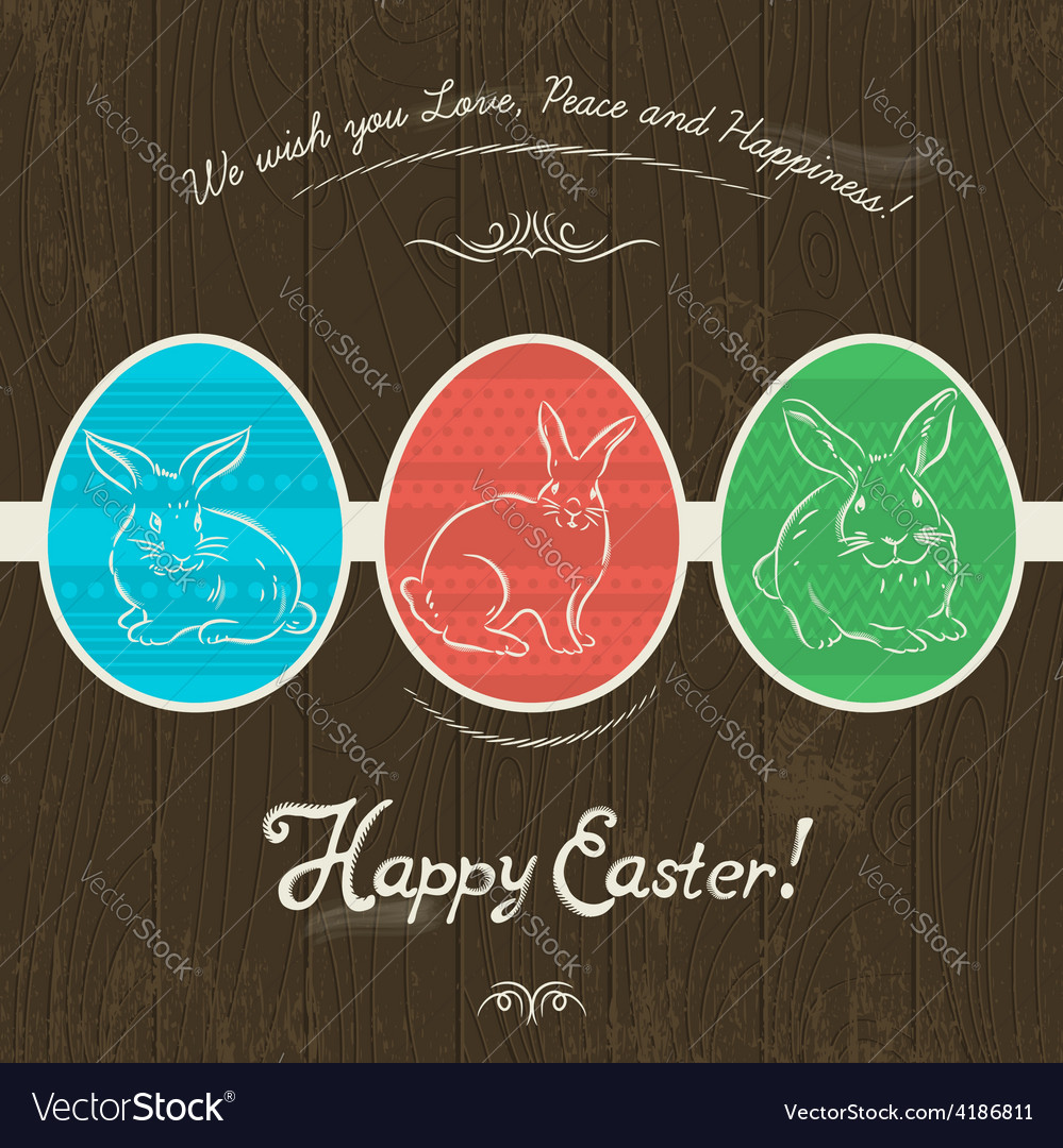 Greetings card with three colored easter eggs vector | Price: 1 Credit (USD $1)