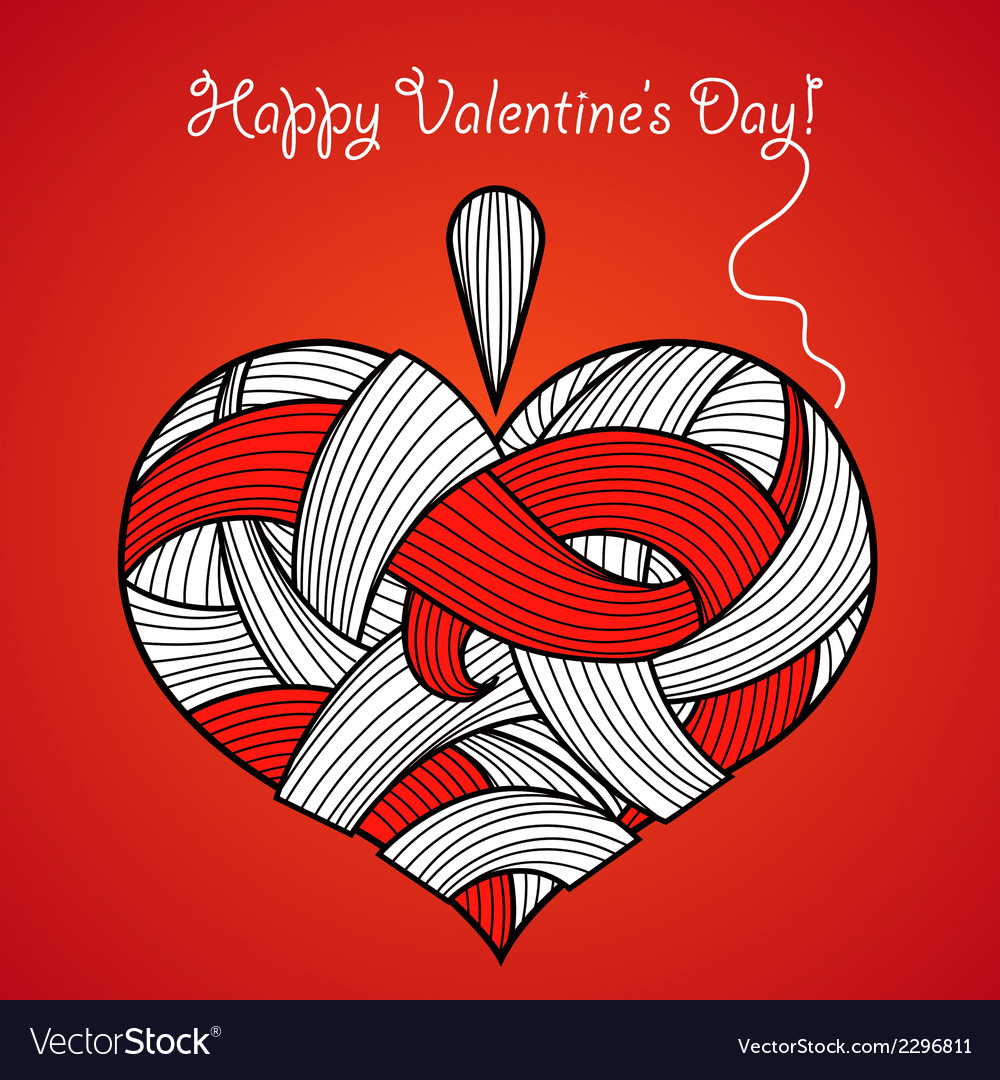 Happy valentines day card with knitted heart vector | Price: 1 Credit (USD $1)
