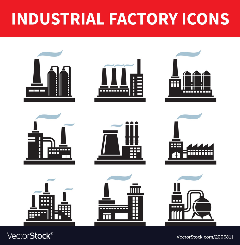 Industrial factory icons - set vector | Price: 1 Credit (USD $1)