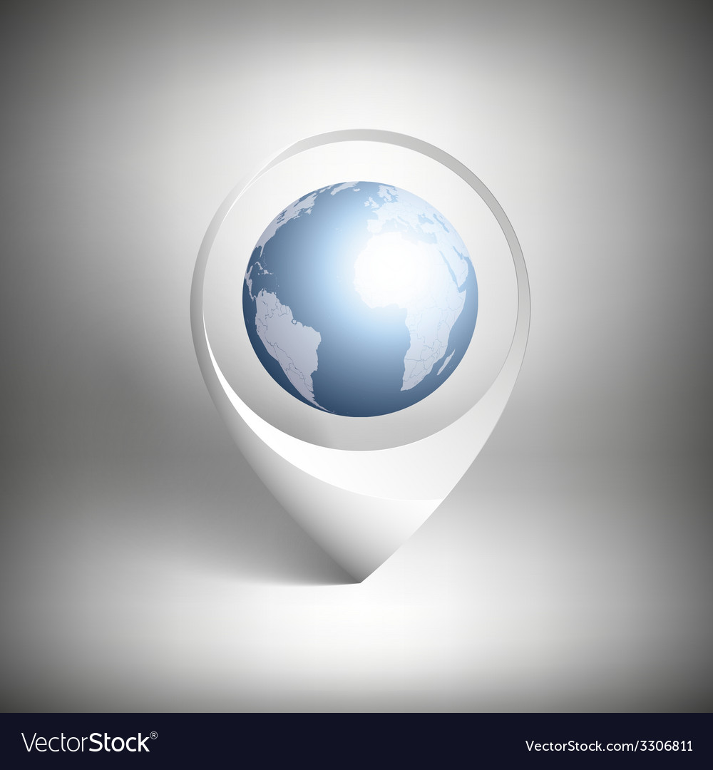 Map pointer with globe of world white icon vector | Price: 1 Credit (USD $1)