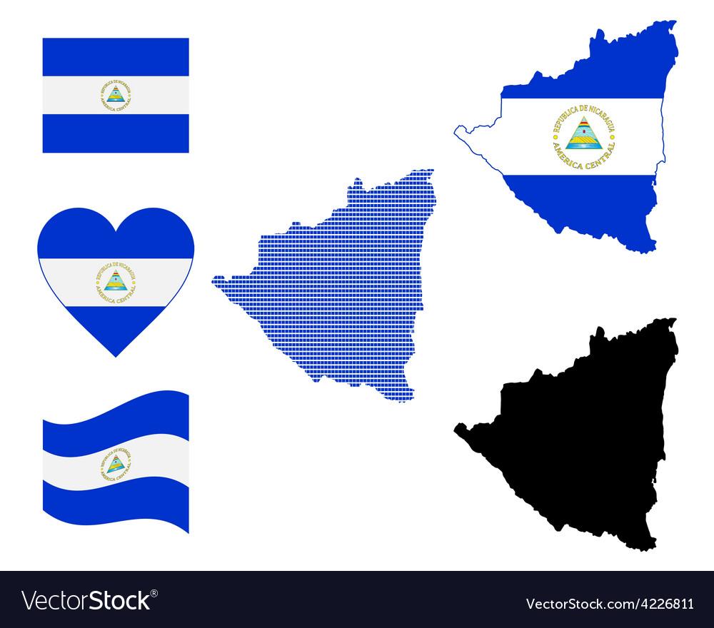 Nicaragua map vector | Price: 1 Credit (USD $1)