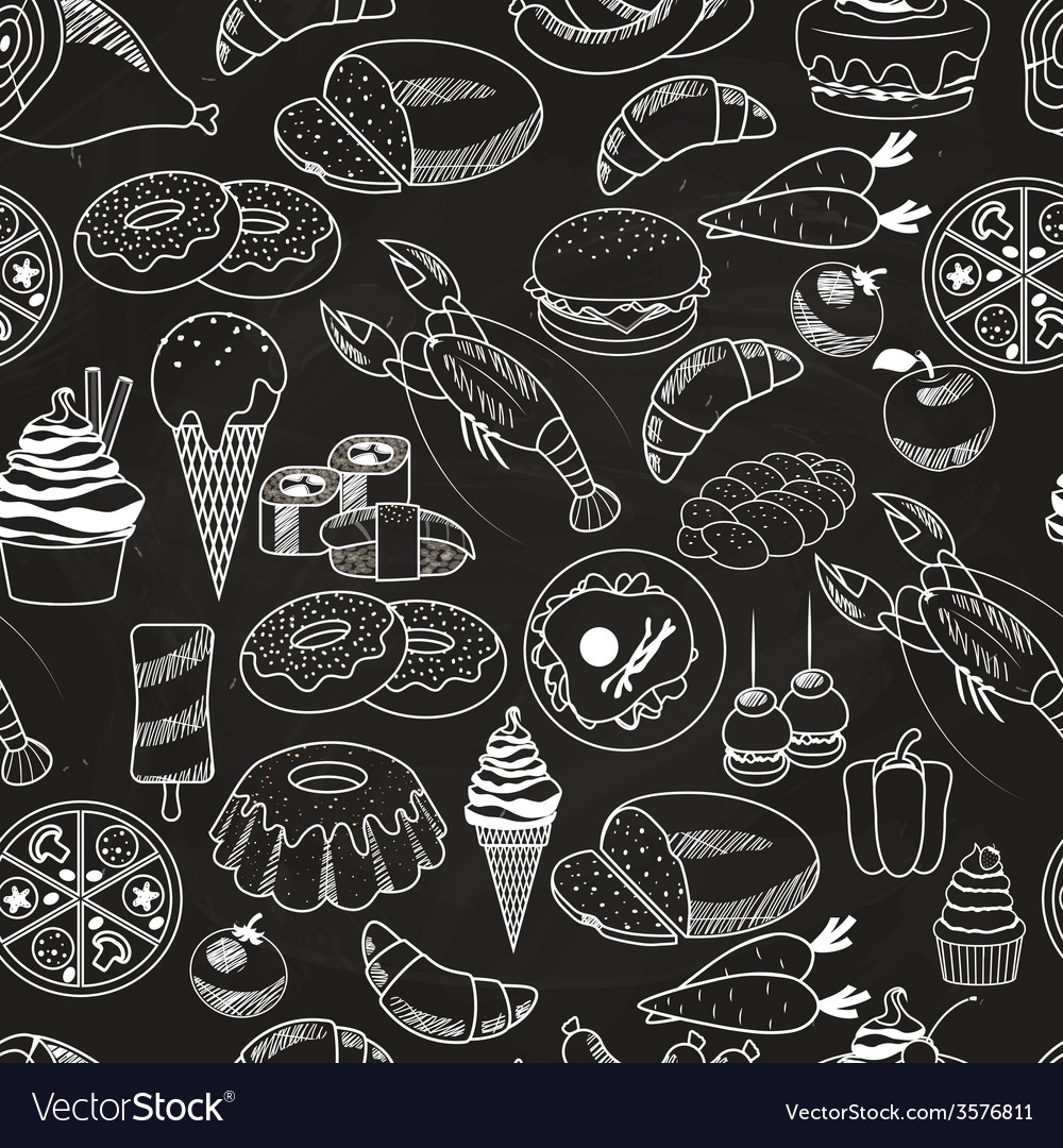 Seamless food on chalkboard background vector | Price: 1 Credit (USD $1)