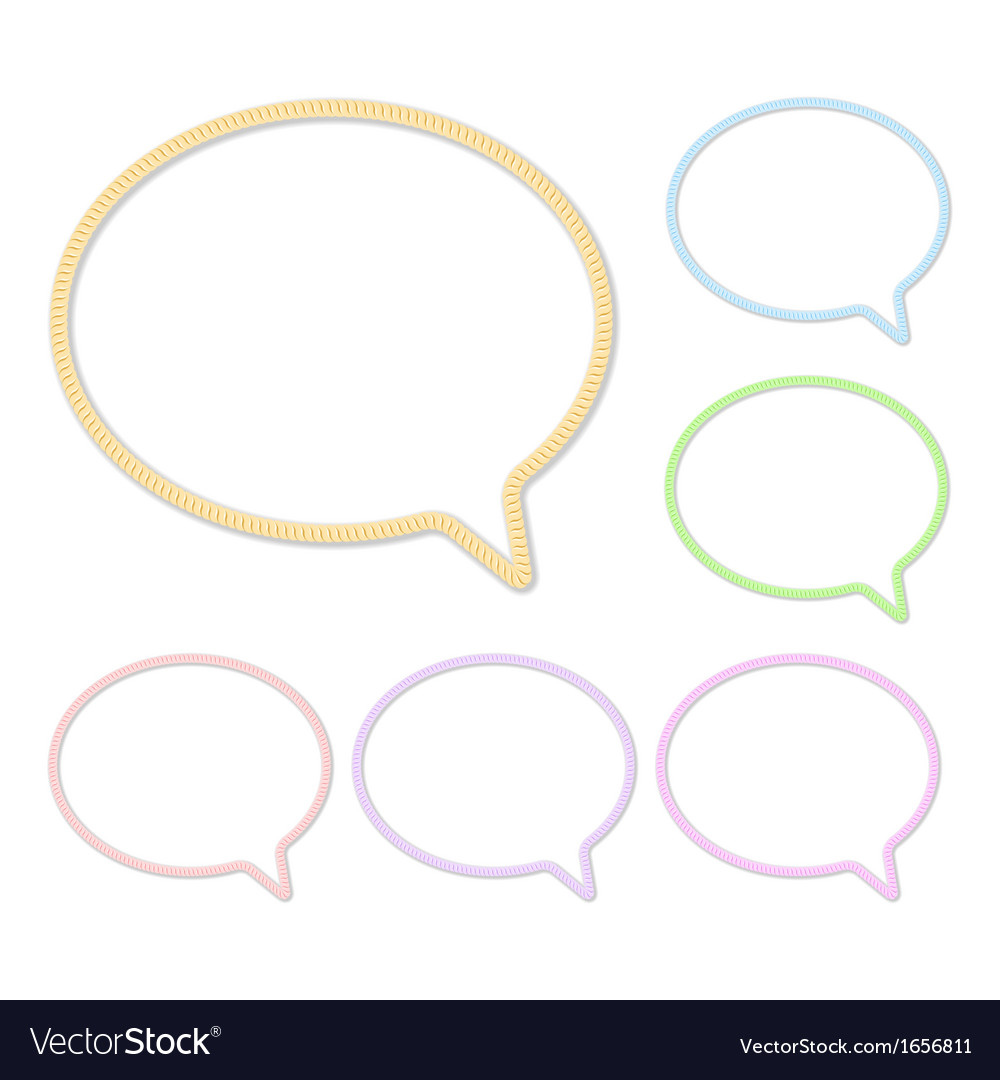 Speech bubbles made of rope or thread set vector | Price: 1 Credit (USD $1)