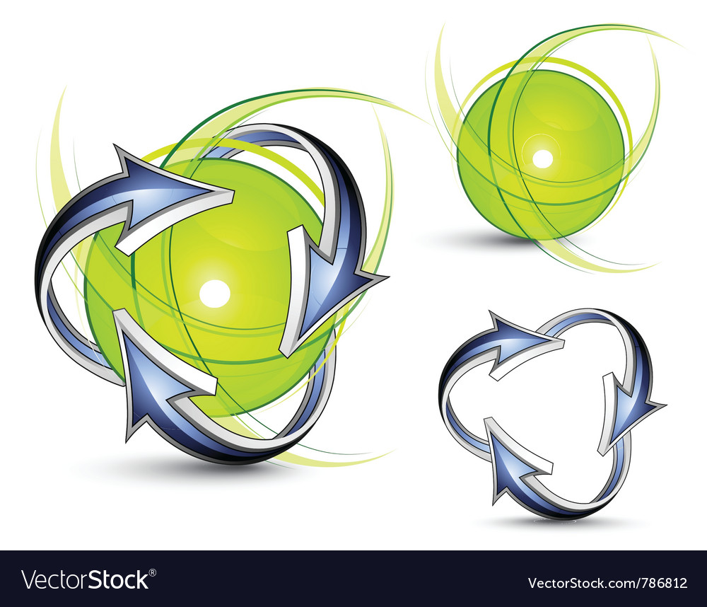 Arrows orbiting spheres vector | Price: 3 Credit (USD $3)