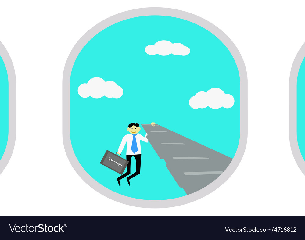 Businessman selling passenger on the plane vector | Price: 1 Credit (USD $1)