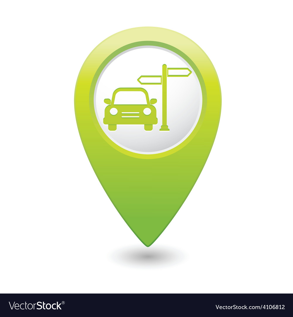 Direct car green map pointer vector | Price: 1 Credit (USD $1)