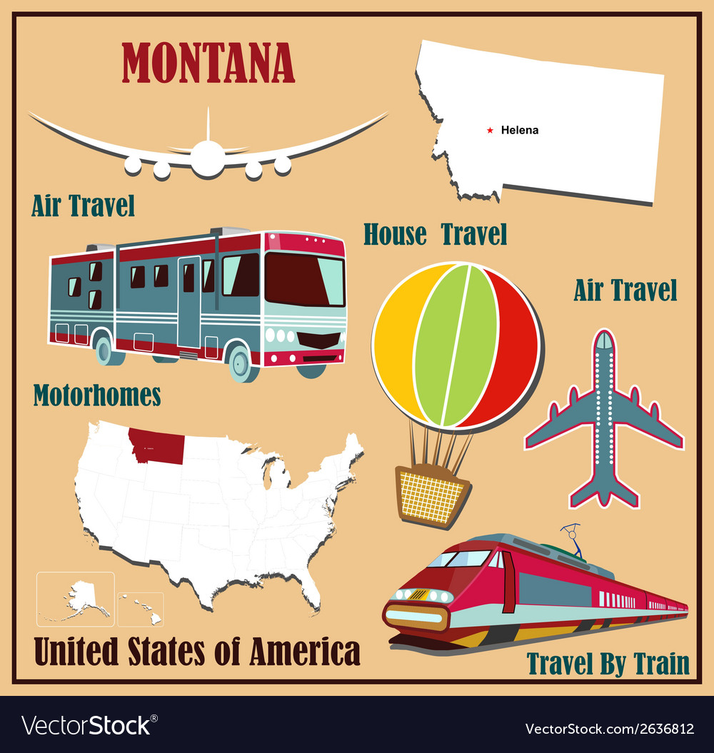 Flat map of montana vector | Price: 1 Credit (USD $1)